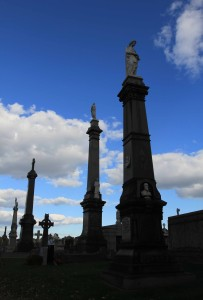 Towering memorials to the deceased at the First Calvary Cemetery; the cemetery was established in 1848 AD.