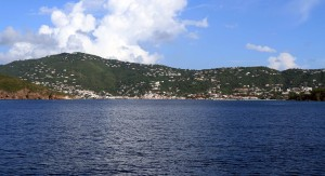 Looking back toward Charlotte Amalie on a boat making its way to the neighboring U.S. Virgin Island, St. John.