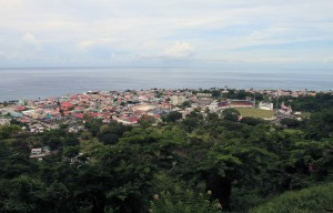 Roseau seen from an overlook in the Dominica Botanic Gardens.