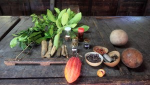 Different spices grown in Grenada, laid out on the table.