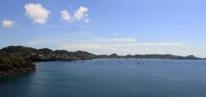 Looking south toward Grand Anse Bay, Grenada, from the cruise ship.
