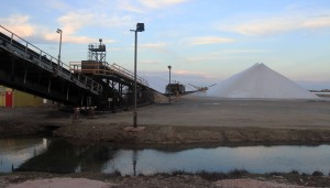 Closer view of the salt works.