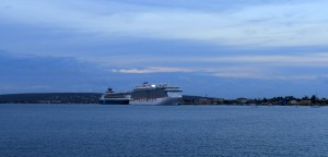 The MS Royal Princess in twilight, seen from Bonaire National Marine Park.