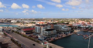 A view of the port at Oranjestad from the cruise ship.