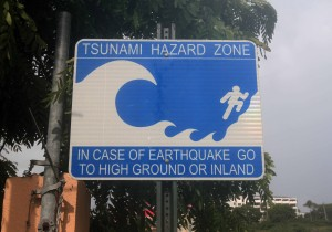 A tsunami hazard sign in Charlotte Amalie, St. Thomas, U.S. Virgin Islands.