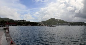 The MS Royal Princess in the distance, seen from the waterfront in Charlotte Amalie.