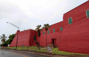 The crimson walls of Fort Christian.