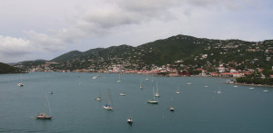 Charlotte Amalie, St. Thomas and Long Bay, seen from the cruise ship.