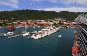 David Geffen's large yacht, Rising Sun, docked at St. Thomas, U.S. Virgin Islands.