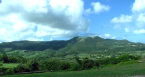 The countryside on Antigua, the larger of the two islands that make up the sovereign nation of Antigua and Barbuda.