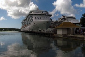 The MS Royal Princess and another cruise ship in port at St. John's in Antigua.