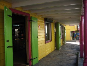 A colorful shopfront colonnade in St. John's.