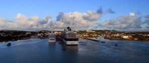 Pulling out of port, in Green Bay, St. John's, Antigua.