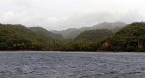 More of the rugged coast and rainforest in Saint Lucia.