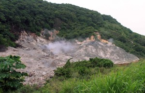 "Steam coming out of the crater of Soufrière Volcano, Saint Lucia's very own ""drive-in"" volcano."