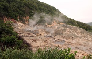Closer view of the steam vents and boiling mud pits.