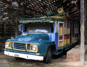An old bus permanently parked at Morne Coubaril plantation in Saint Lucia.