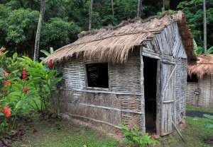 Recreation of historic huts used on the Morne Coubaril plantation in years of yore.