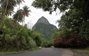 Petit Piton, seen from the road outside of the Morne Coubaril plantation.