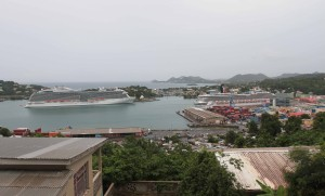 "Castries City, the MS Royal Princess, and another cruise ship seen from Morne Fortune, the ""Hill of Good Luck."""