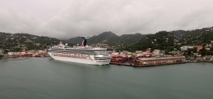 The port in Castries City, Saint Lucia, seen from the MS Royal Princess.