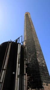 The smokestack outside of the distillery.
