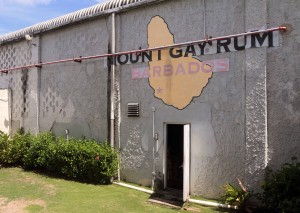 Outside of the Mount Gay Rum Bottling Plant.