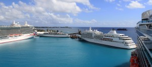 Three other cruise ships docked at the harbor in Bridgetown, Barbados.