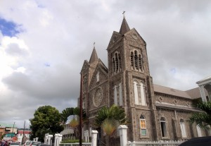 The Co-Cathedral of the Immaculate Conception of the Virgin Mary (built in 1928 AD), located in Basseterre.