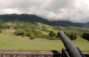 A canon facing out, toward Mount Liamuiga.