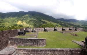 More canons at Brimstone Hill Fortress facing toward Mount Liamuiga on Saint Kitts Island.