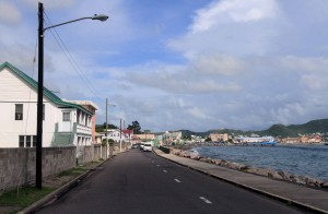 The road back in to Basseterre.