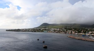 "The western end of Basseterre, Saint Kitts and Nevis, seen from the MS (""Motor Ship"") Royal Princess."