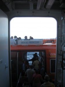 Passengers making their way on to one of the tenders that will take them to Princess Cays (an exclusive port for Princess Cruises) in the Bahamas.