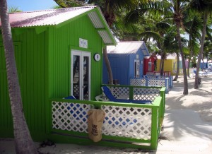 Colorful cabanas at the beach.