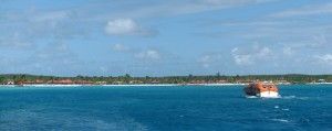 A tender approaching Princess Cays.