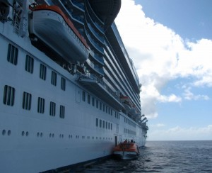 "Maneuvering along the port (or ""larboard"") side of MS Royal Princess to dock."