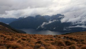 The South Fiord of Lake Te Anau and a cloudy sky.
