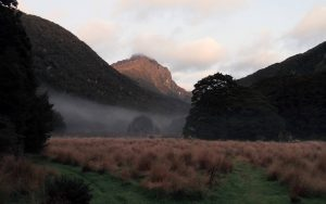 Morning view with mist, seen from Iris Burn Hut.