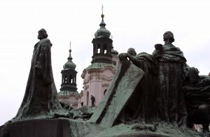 The Jan Hus Memorial in the Old Town Square in Prague.