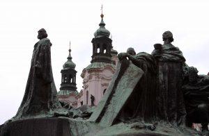 The Jan Hus Memorial in the Old Town Square in Prague.