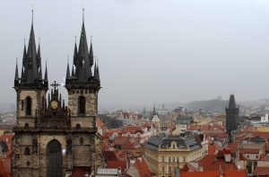 The Church of Our Lady before Týn and the Powder Tower, seen from the Old Town Hall tower.