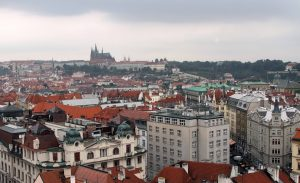 Looking at Prague Castle from the Old Town Hall tower.