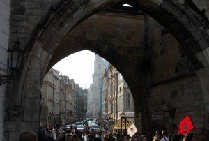 Mostecká street seen from underneath the Little Quarter Bridge Tower.