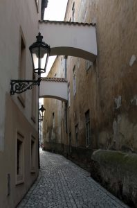 A narrow street in Prague.