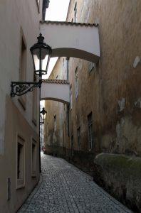A narrow street in Prague.
