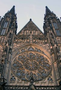 Looking up at the façade of St. Vitus Cathedral.