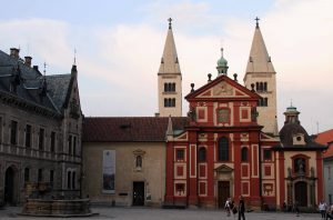 St. George's Basilica in Prague Castle; the Baroque façade dates from the late 17th-century AD.