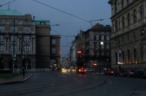 Street in Prague at night.