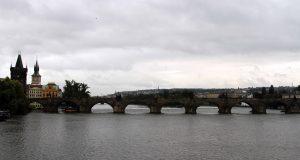 Charles Bridge (built in 1402 AD) over the Vltava River.
